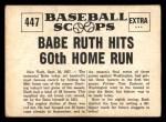 1961 Nu-Card Scoops #447   -   Babe Ruth Babe Ruth Hits 60th Home Run Back Thumbnail