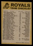 1974 Topps Red Checklist   Royals Red Team Checklist Back Thumbnail