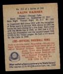 1949 Bowman #212  Ralph Hamner  Back Thumbnail