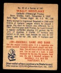 1949 Bowman #45  Wally Westlake  Back Thumbnail