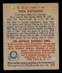 1949 Bowman #218  Dick Kryhoski  Back Thumbnail