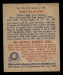 1949 Bowman #236  Fred Sanford  Back Thumbnail