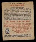 1949 Bowman #83 NNOF Bob Scheffing  Back Thumbnail