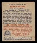 1949 Bowman #178  Tom Brown  Back Thumbnail