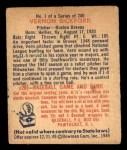 1949 Bowman #1  Vern Bickford  Back Thumbnail