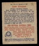 1949 Bowman #78 NNOF Sam Zoldak  Back Thumbnail