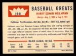 1960 Fleer #65  Harry Heilmann  Back Thumbnail