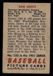 1951 Bowman #133  Sam Dente  Back Thumbnail