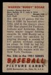 1951 Bowman #236  Warren Rosar  Back Thumbnail