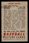 1951 Bowman #304  Allen Gettell  Back Thumbnail