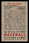 1951 Bowman #267  Ken Holcombe  Back Thumbnail