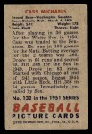 1951 Bowman #132  Cass Michaels  Back Thumbnail