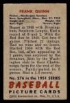 1951 Bowman #276  Frank Quinn  Back Thumbnail