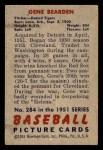 1951 Bowman #284  Gene Bearden  Back Thumbnail