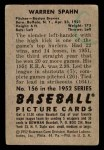 1952 Bowman #156  Warren Spahn  Back Thumbnail