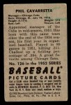 1952 Bowman #126  Phil Cavarretta  Back Thumbnail