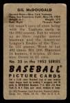 1952 Bowman #33  Gil McDougald  Back Thumbnail