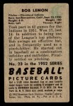 1952 Bowman #23  Bob Lemon  Back Thumbnail
