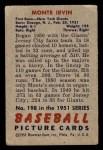 1951 Bowman #198  Monte Irvin  Back Thumbnail