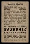 1952 Bowman #208  Walker Cooper  Back Thumbnail