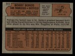 1972 Topps #711  Bobby Bonds  Back Thumbnail