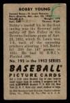 1952 Bowman #193  Bob Young  Back Thumbnail