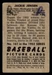1952 Bowman #161  Jackie Jensen  Back Thumbnail
