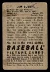 1952 Bowman #68  Jim Busby  Back Thumbnail