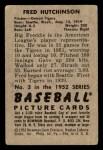 1952 Bowman #3  Fred Hutchinson  Back Thumbnail