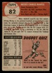 1953 Topps #82  Mickey Mantle  Back Thumbnail