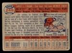 1957 Topps #248  Jim Finigan  Back Thumbnail