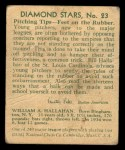1935 Diamond Stars #23  Bill Hallahan   Back Thumbnail