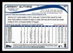 2014 Topps #167  Jeremy Guthrie  Back Thumbnail
