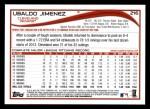 2014 Topps #216  Ubaldo Jimenez  Back Thumbnail