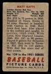 1951 Bowman #129  Matt Batts  Back Thumbnail