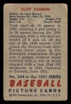 1951 Bowman #244  Cliff Fannin  Back Thumbnail