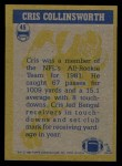 1982 Topps #45   -  Cris Collinsworth In Action Back Thumbnail