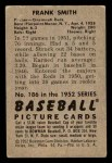 1952 Bowman #186  Frank Smith  Back Thumbnail