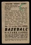 1952 Bowman #111  Hoot Evers  Back Thumbnail