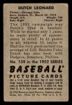 1952 Bowman #159  Dutch Leonard  Back Thumbnail