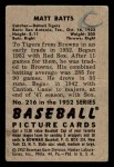 1952 Bowman #216  Matt Batts  Back Thumbnail
