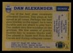 1982 Topps #161  Dan Alexander  Back Thumbnail