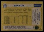 1982 Topps #148  Tim Fox  Back Thumbnail