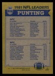 1982 Topps #262   -  Pat McInally / Tom Skladany Punting Leaders Back Thumbnail