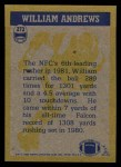 1982 Topps #273   -  William Andrews In Action Back Thumbnail