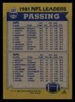 1982 Topps #257   -  Ken Anderson / Joe Montana Passing Leaders Back Thumbnail