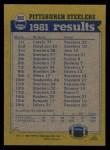 1982 Topps #202   Steelers Leaders Back Thumbnail