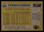 1982 Topps #211  Franco Harris  Back Thumbnail