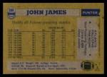 1982 Topps #280  John James  Back Thumbnail