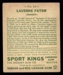 1933 Goudey Sport Kings #13  Laverne Fator   Back Thumbnail